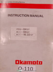Details about Okamoto PSG & ACC Surface Grinder, Operators 125 pg., on