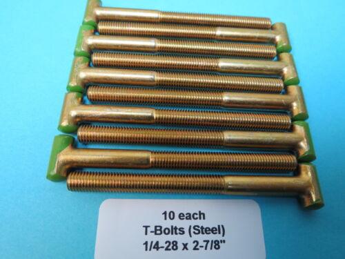 "10 ea New Tee Head T-Bolts 1//4""-28 X 2-7//8"" Aircraft Marine Rat Rod Industrial"