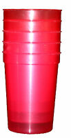3 12 Oz- Red Plastic Drinking Glasses Made In America Lead Free