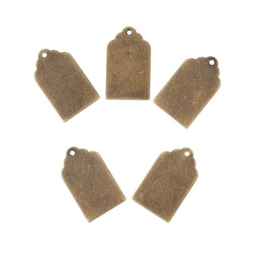 10pcs Bronze Brass Letters Stamping Tag Pendant Blanks Smooth Dangle Charms 21mm
