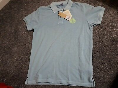 d23346b3a Replay Small Mens Light Blue Polo Shirt With Yellow Replay Emblem
