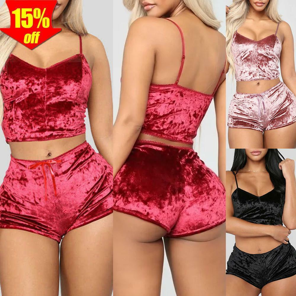 Damen Samt Schlafanzug Nachtwäsche Dessous Sexy Reizwäsche Trägershirts Shorts