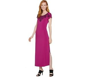 d6c2601cbd2 Bob Mackie s Embroidered Dolman Sleeves Knit Maxi Dress Raspberry ...