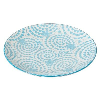 dotcomgiftshop PORCELAIN JAPANESE STYLE SIDE PLATE BLUE SWIRLS DESIGN