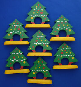 Christmas Tree Napkin Rings.Details About Set Of 7 Vintage Christmas Tree Napkin Rings Hand Painted Wood 3 Tall