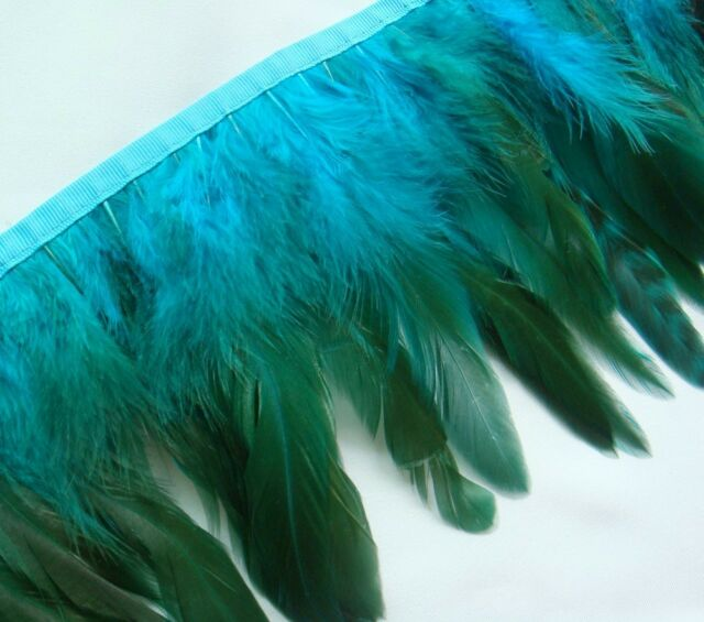 F274 PER FEET-Long T Blue Rooster Hackle feather fringe Trim Fascinator Material