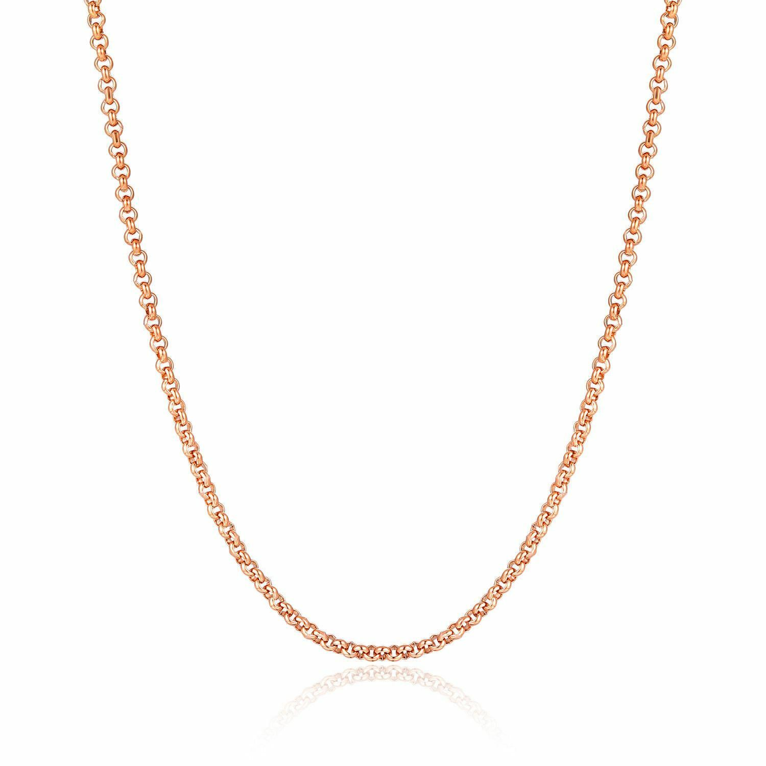 50pcs Wholesale IP Rose Gold Stainless Steel Strong Rolo Chain Necklace 1.5-3mm