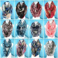US Seller-10pcs vintage paisley infinity loop scarf Infinity Scarves Wholesale