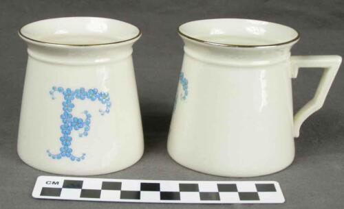 "2 Antique WH Goss Porcelain ForgetMeNot Initial Letter ""F"" Child's Mugs Cup HH"