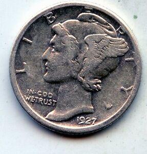 Circulated 90/% Silver US Coin 1927-S Mercury Dime