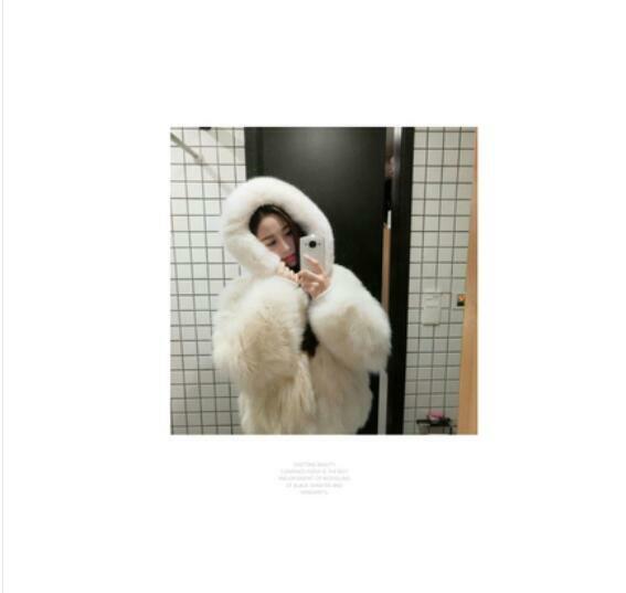 Womens Sheep Fur Korean Furry Hooded Loose Coat Parka Jacket Hoodie Chic D616