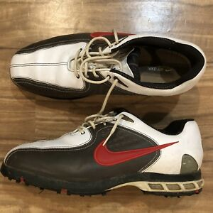 3f2c8d77eb36c Nike Mens Air Zoom Elite Golf Shoes Sz 12 White Brown Red Leather ...