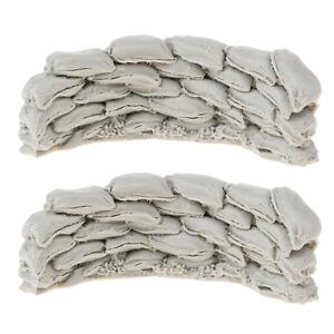 2x-1-35-Resin-Model-World-War-II-Scene-Accessories-Sandbags-Wall-Unpainted