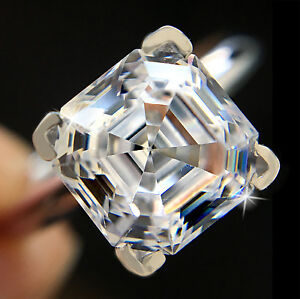 Fine Jewelry Honest 2.5 Ct Brilliant Asscher Ring Top Russian Quality Cz Moissanite Simulant Size 4 Fine Rings