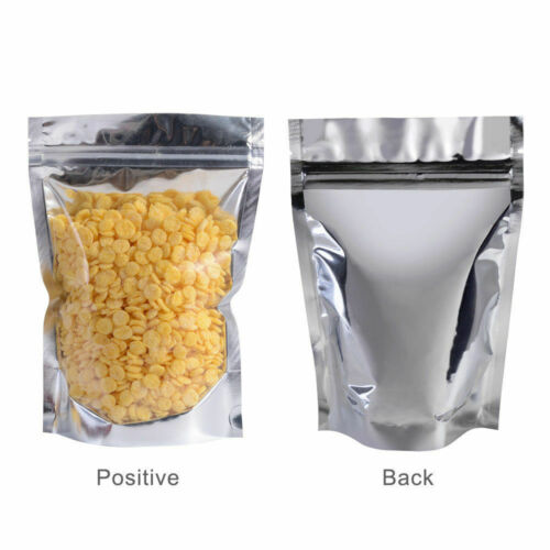 Resealable Aluminum Foil Ziplock Bags Metallic Stand Up Package Food Grade Pouch