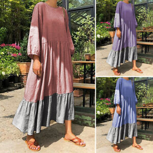 VONDA-Women-Casual-Long-Sleeve-Shirt-Dress-Oversized-Loose-Long-Dress-Kaftan