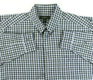Ermenegildo-Zegna-Men-039-s-XL-Blue-Check-Long-Sleeve-Shirt-Italy-Snap-Collar