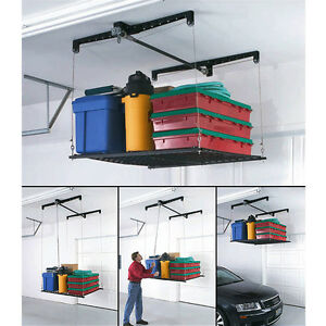 adjustable overhead garage storage rack stock pulley cable lifted roof mounted