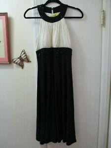 Jessica-Howard-Black-with-Ivory-Empire-Waist-Sleeveless-Party-Dress-Size-8