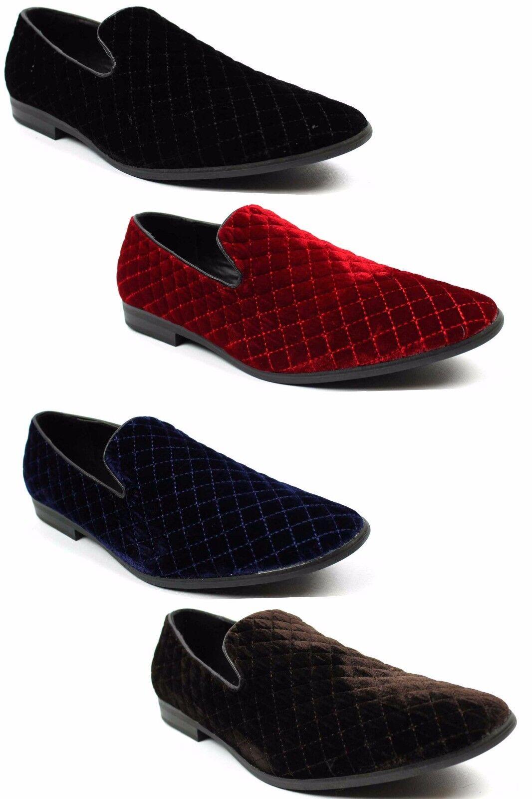 Men's Alberto Fellini Velvet Diamond Stitch Slip On Loafers Dress shoes Sparko2