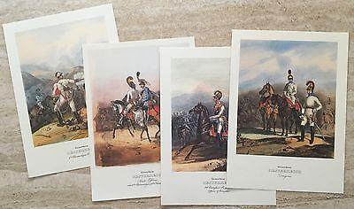 Hart Arbeitend 4 Steindrucke Kaiserreich Österreich - Konvolut, Militaria, Dragoner, Offiziere