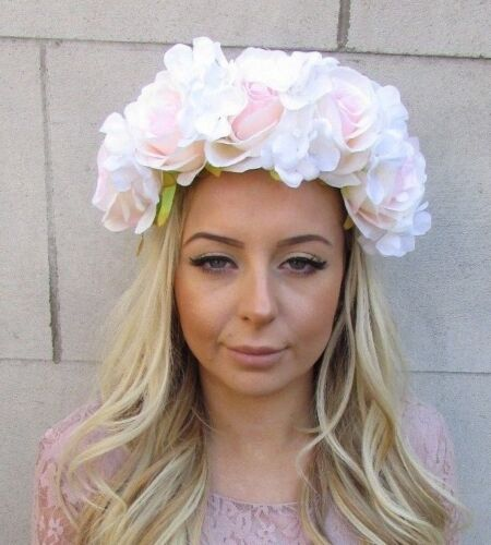 Large White Blush Light Pink Hydrangea Rose Flower Crown Garland Headband 5561