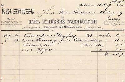 Gehorsam Glauchau, Rechnung 1892, Carl Klingers Nachf. Eisengiesserei Maschinen-fabrik