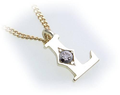 Colgante u cadena la letra l dia 0,01 CT real oro 333 diamante dorado