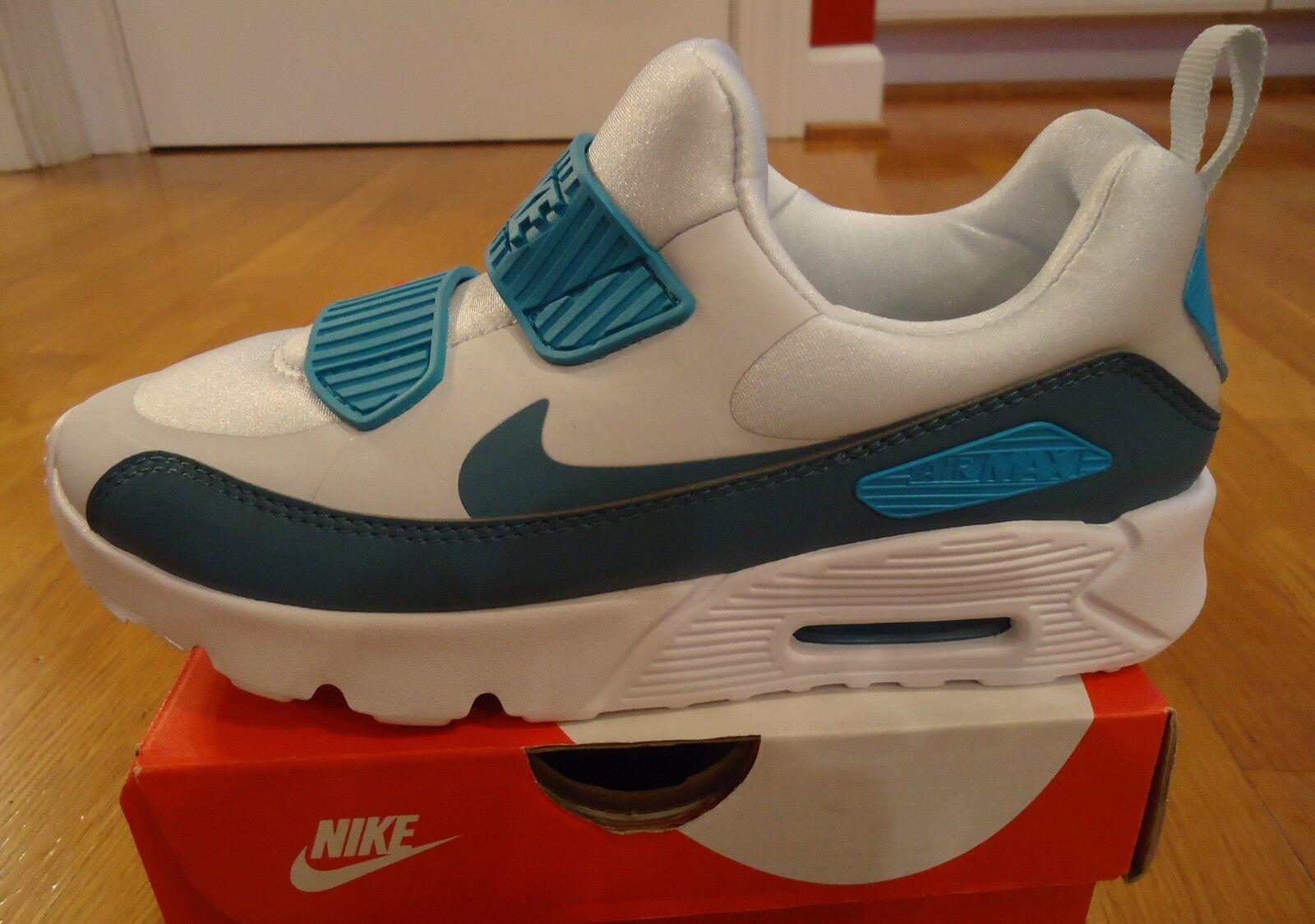 NIB New Nike Air Max Tiny 90 Pure Platinum White Aqua Preschool Girls tamaño 2