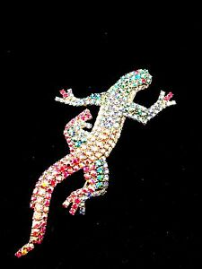 Aurora Borealis Rainbow Rhinestone Lizard Gecko Twin Love Couple Bracelet Bangle
