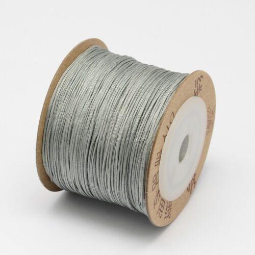 1 Rouleau 0.8 mm Argent Nylon Threads Cordon Fil pour Bijoux Making sur 100 m//rouleau