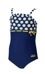 Zoggs-Girls-Daisy-Stripe-Purple-Yellow-Bow-Swimming-Costume-Age-2-3-3-4-Floral