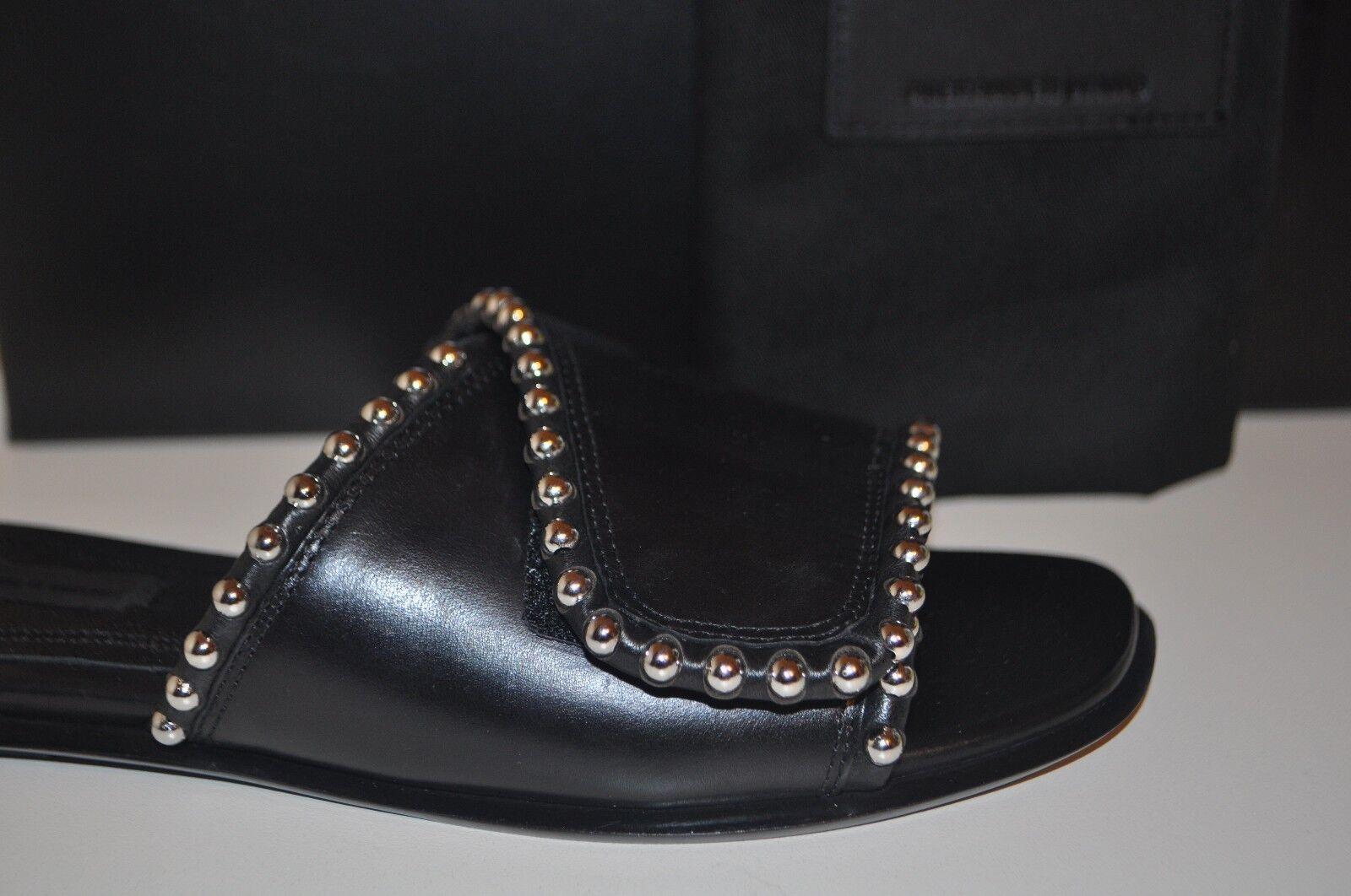 New in in in Box Alexander Wang Leidy argenttone Rivets Slide Flat Sandale en cuir noir 36.5 9a011f