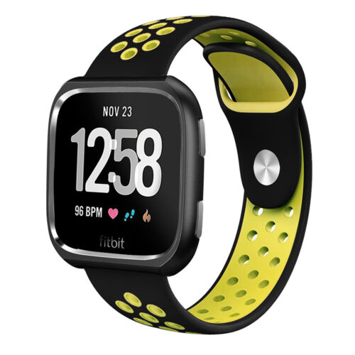 For Fitbit Versa//SE!Durable Sports Silicone Wrist Band Strap w//Metal Case Frame