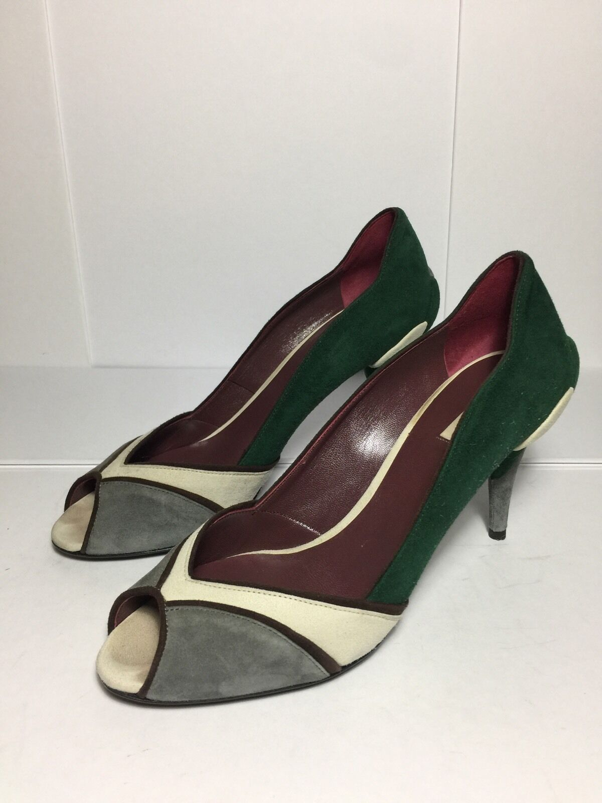 =QUIRKY CUTE= MIU MIU vert gris Mod Style Block Colour Suede 3D Art Heels US7