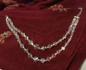 Vintage-Graduated-Faceted-Swarovski-Crystal-Glass-Bead-Choker-Necklace-14-034