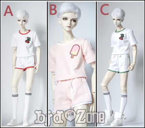 NEW Youth 1//3 1//4 BOY MSD BJD Doll Clothes Green //Red //Pink Printing Sport Suit