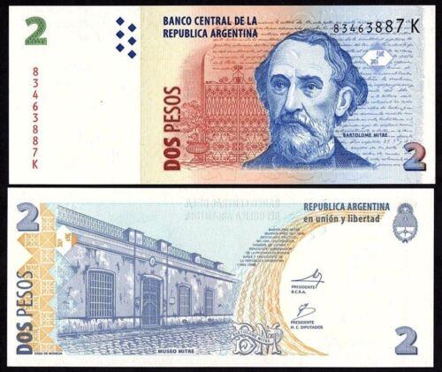 P-352 ARGENTINA 2 PESOS ND 2012 UNC BANKNOTE WORLD PAPER MONEY