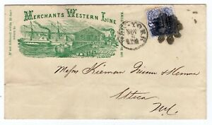 114-Locomotive-on-Merchants-Western-Line-Illustrated-Steamboat-amp-Train-NY