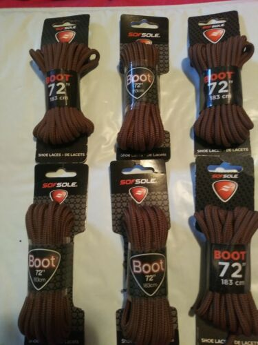 New Sol Sole Boot Laces 72/' Inches Brown  6 Pair