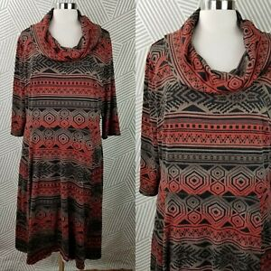 Signature-Sweater-Dress-Aztec-Print-Plus-size-2X-18-20-Fit-amp-Flare-midi-cowl