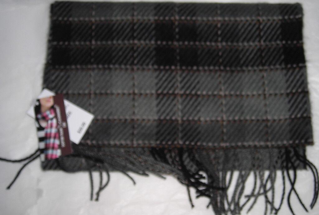New Womens D & Y Gray & Black Plaid Cashmere Feel Soft Scarf