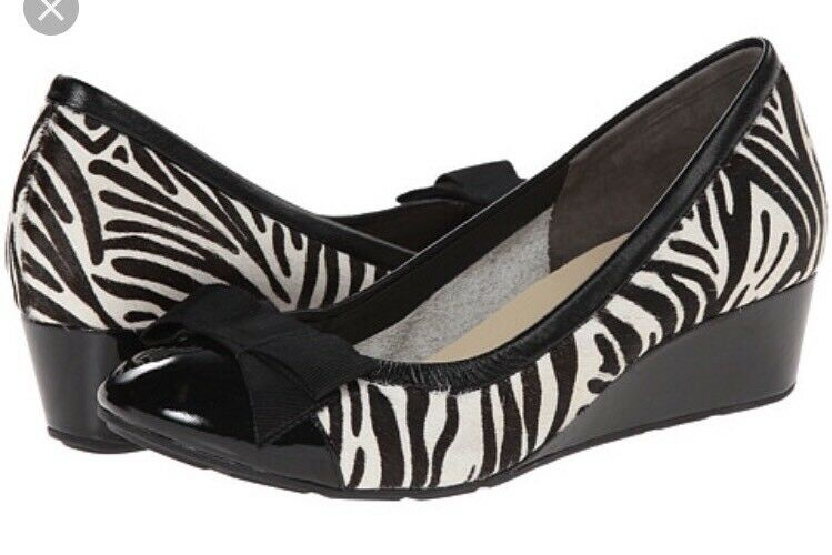 Cole Haan Womens Tali Wedge Flow Bow Genuine Calf Hair Zebra 8.5B  D42237