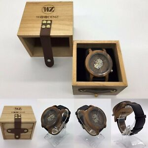 Men's Handcrafted Oak Wooden Watch, Japanese Miyota Quartz, Real Leather Strap