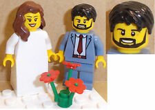 Lego Bride and Groom Minifigs CHOICE of HAIR HEADS. FLOWERS or SUITS AVAILABLE