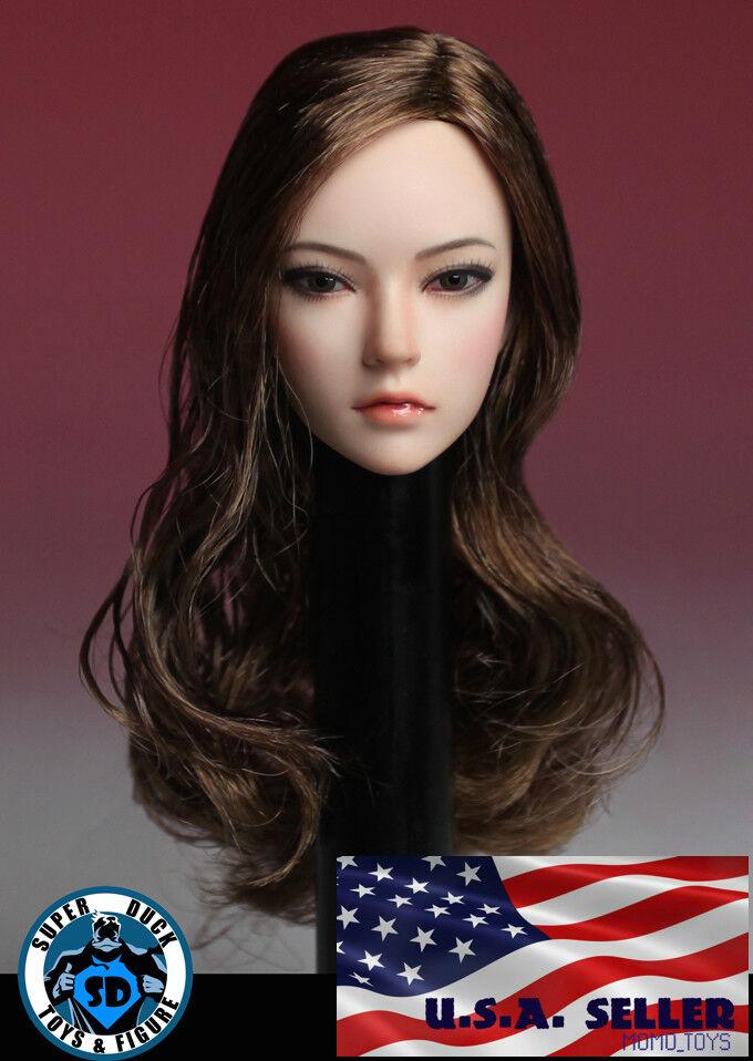 1 6 American Brown HAIR Female Head Sculpt C For 12  Phicen TBLeague PALE Figure