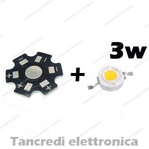 Chip-led-3W-bianco-caldo-600mA-3V-3-6V-con-dissipatore-alluminio-lampadina-bulb