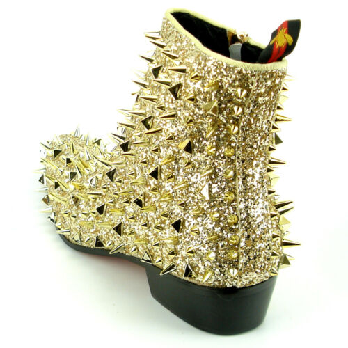 FI-7316 Gold Glitter Spikes Fiesso by Aurelio Garcia Boot with Side Zipper