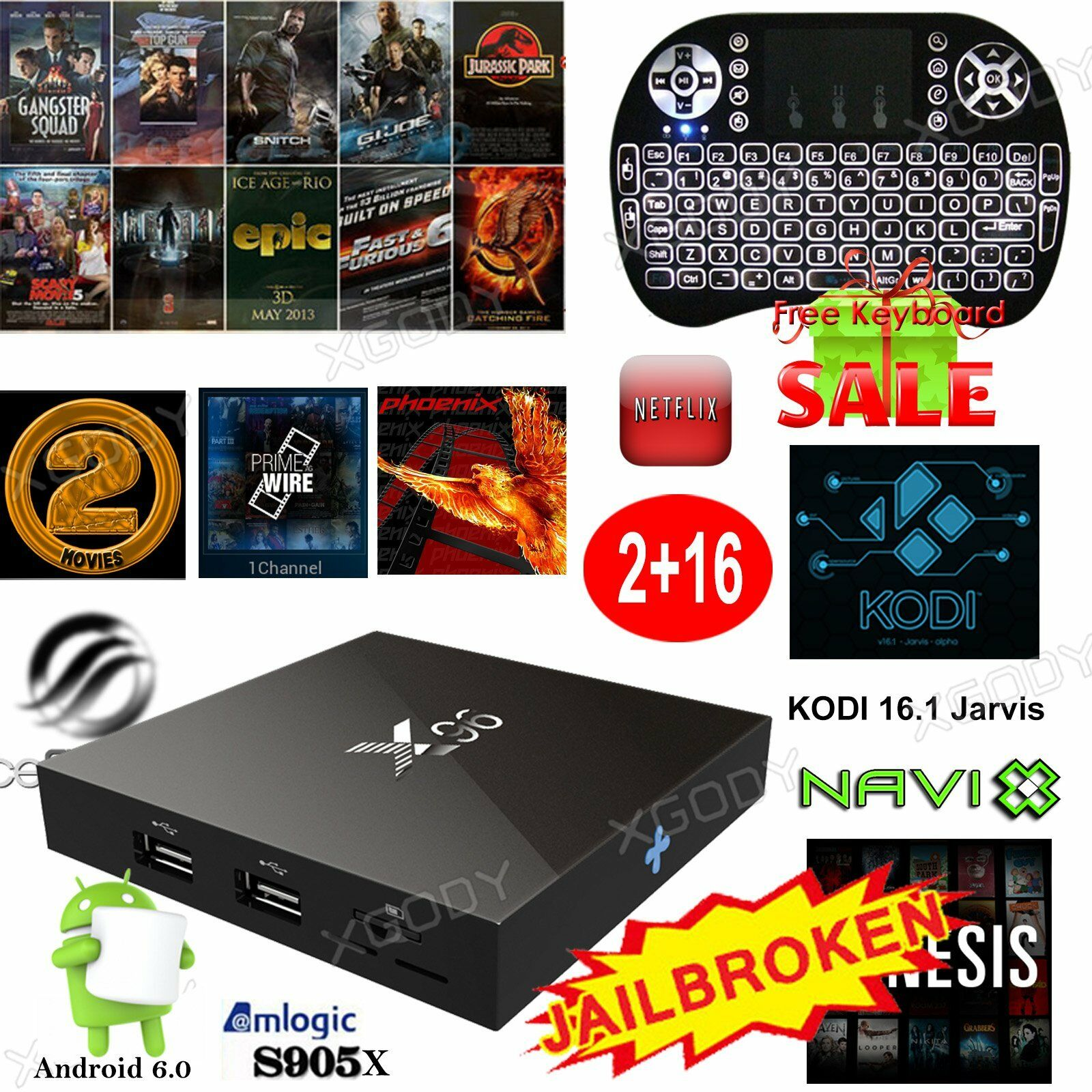 X96 2G+16GB Android 6.0 Smart 4K TV KODI 16.1 BOX S905X Quad core+Free Keyboard