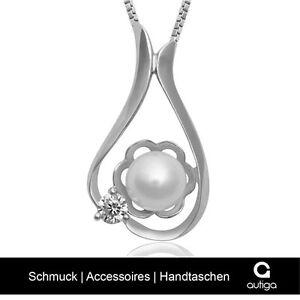COLLANA 925 sterling argento donna ciondolo perla Zirconia Cristallo Fiore  </span>